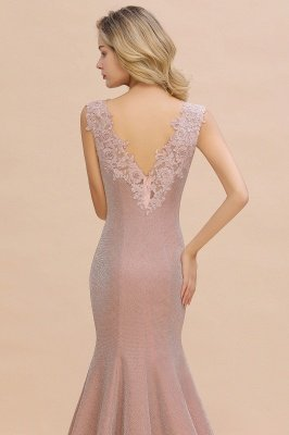 Sparkly Deep V-neck Long Evening Dresses | Elegant Flowers Neck Sleeveless Pink Floor-length Formal Dress_9