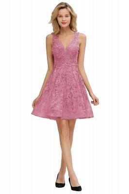 Princess V-neck Knee Length Lace Appliqued Homecoming Dresses | Burgundy Dress for Homecoming_2
