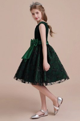 Autumn Knee Length Flower Girl Dress | Lace Velvet A-line Little Girls Pegeant Dress Online_5