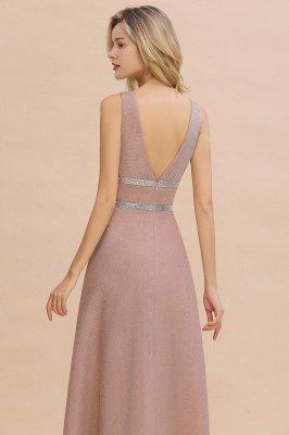 Sparkly Deep V-neck Long Evening Dresses with Shining Belt | Elegant Sleeveless V-back Pink Formal Dress_4