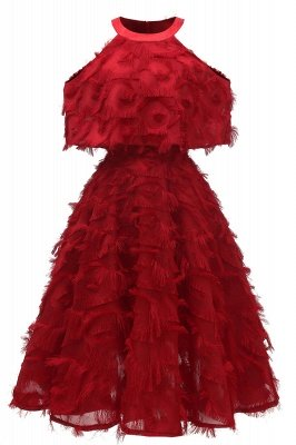 High neck Elegant Crew Neck Artificial Feather Dress Burgundy Princess Midi Dresses_3