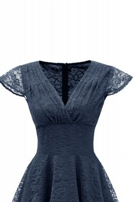 Elegante Spitze Vintage Rockabilly Kleid | Schöne V-Ausschnitt Damen Kleider A-Linie_17