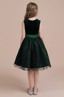 Autumn Knee Length Flower Girl Dress | Lace Velvet A-line Little Girls Pegeant Dress Online_3
