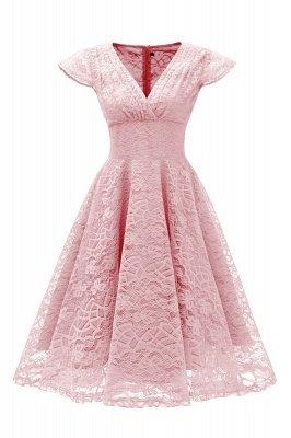 Elegante Spitze Vintage Rockabilly Kleid | Schöne V-Ausschnitt Damen Kleider A-Linie_1