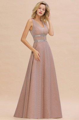 Sparkly Deep V-neck Long Evening Dresses with Shining Belt | Elegant Sleeveless V-back Pink Formal Dress_9
