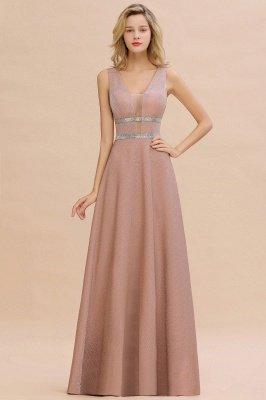 Sparkly Deep V-neck Long Evening Dresses with Shining Belt | Elegant Sleeveless V-back Pink Formal Dress_1