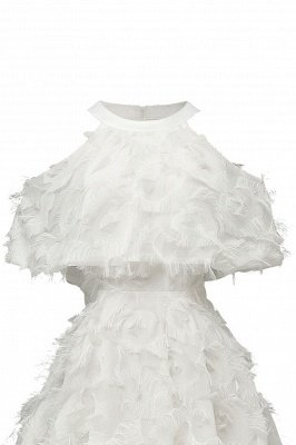High neck Elegant Crew Neck Artificial Feather Dress Burgundy Princess Midi Dresses_17