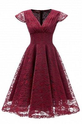 Elegante Spitze Vintage Rockabilly Kleid | Schöne V-Ausschnitt Damen Kleider A-Linie_2