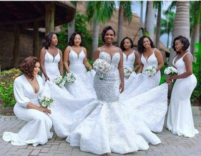 Robes de mariée de luxe en dentelle perlée sirène sweetheart | Appliques spaghetti-sangles robes de mariée pas cher_7