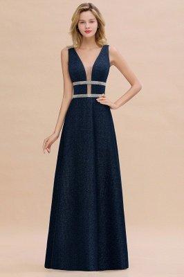 Sparkly Deep V-neck Long Evening Dresses with Shining Belt | Elegant Sleeveless V-back Pink Formal Dress_2
