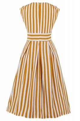 Excellent V-neck Stripes Fashion Beer Dresses   Knee-Length Women's Dresses_7