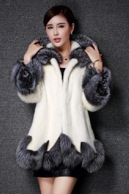 Abrigo con capucha de media longitud negro / blanco de piel sintética | Chaqueta de piel sintética con cuello chal artificial islandés_5