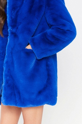 Daily Regular Stand Long Faux Fur Coat| Solid Colored Long Sleeve Faux Fur Yellow / Blue / Fuchsia_33