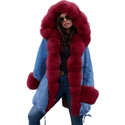 Midnight Blue Hooded Long-length Faux Fur Coat | Women's Solid Color Winter/Fall Jacket_46
