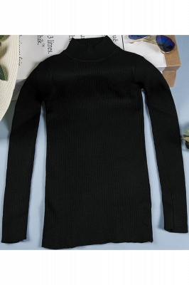 Fitted Top in a fine-knit viscose blend   Long Sleeves Round Neckline Sweater_2