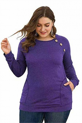 Long Sleeves Button Pullover Plu Size Shirts with Pockets_4