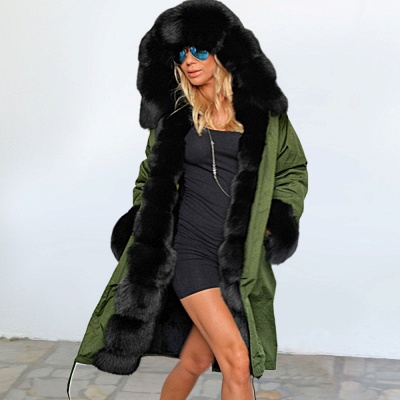 Army Green Faux Fur-trimmed long-length Coat | Classic Solid Color Winter/Fall Jacket_10
