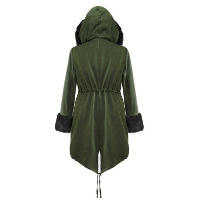Army Green Faux Fur-trimmed long-length Coat | Classic Solid Color Winter/Fall Jacket_19