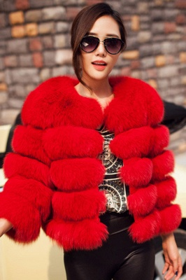 Women's Daily/Party Long Faux Fur Coat | Solid White/Pink/Ruby/Burgundy Colored Round Neck Long Sleeve Faux Fur Overcoat_17