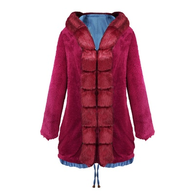Midnight Blue Hooded Long-length Faux Fur Coat | Women's Solid Color Winter/Fall Jacket_36