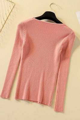 Soft V-neck fitted knit sweater with dropped shoulders with ribbing at cuffs and hem_9