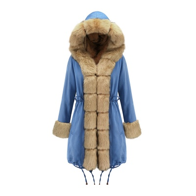Midnight Blue Hooded Long-length Faux Fur Coat | Women's Solid Color Winter/Fall Jacket_43