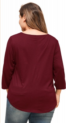 Casual Button Neckline Wide Sleeves Plus Size Blouses_4