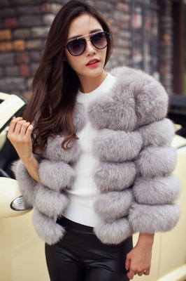 Women's Daily/Party Long Faux Fur Coat | Solid White/Pink/Ruby/Burgundy Colored Round Neck Long Sleeve Faux Fur Overcoat_36