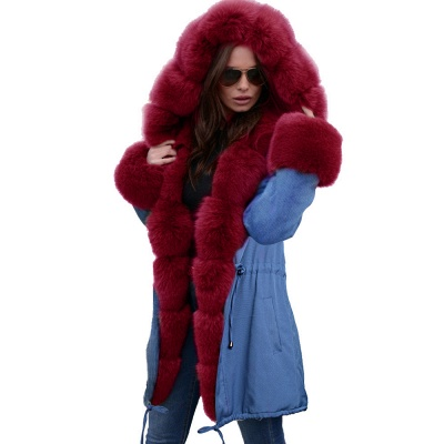 Midnight Blue Hooded Long-length Faux Fur Coat | Women's Solid Color Winter/Fall Jacket_50