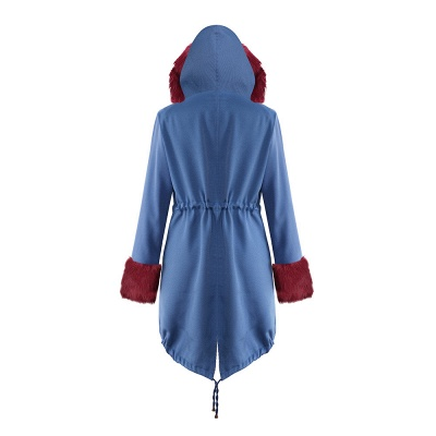 Midnight Blue Hooded Long-length Faux Fur Coat | Women's Solid Color Winter/Fall Jacket_35