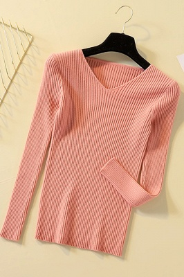 Soft V-neck fitted knit sweater with dropped shoulders with ribbing at cuffs and hem_18