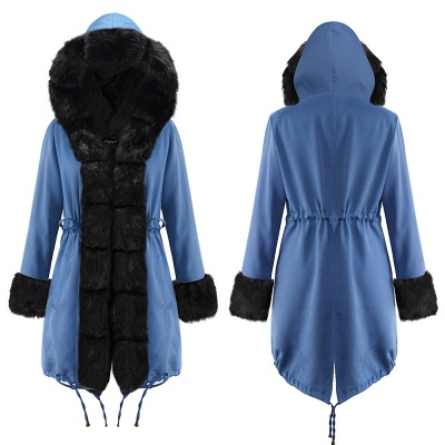 Midnight Blue Hooded Long-length Faux Fur Coat | Women's Solid Color Winter/Fall Jacket_23