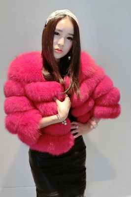 Women's Daily/Party Long Faux Fur Coat | Solid White/Pink/Ruby/Burgundy Colored Round Neck Long Sleeve Faux Fur Overcoat_4