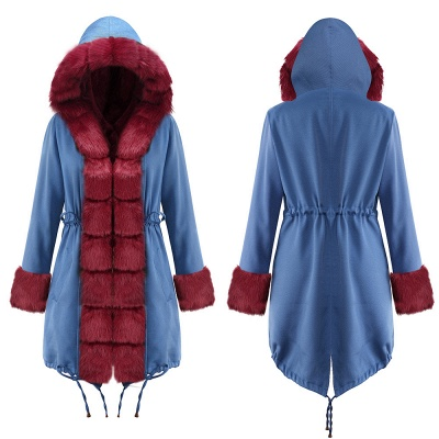 Midnight Blue Hooded Long-length Faux Fur Coat | Women's Solid Color Winter/Fall Jacket_21