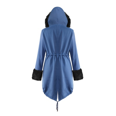 Midnight Blue Hooded Long-length Faux Fur Coat | Women's Solid Color Winter/Fall Jacket_28