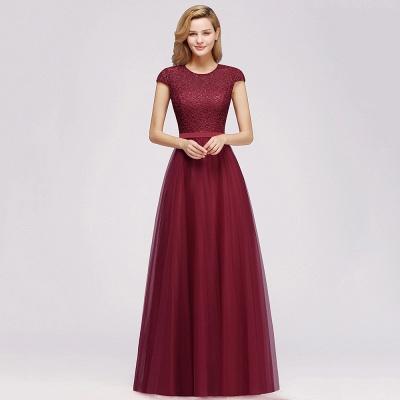 Elegant Lace Top Cap Sleeves Long Tulle Bridesmaid Dresses_9
