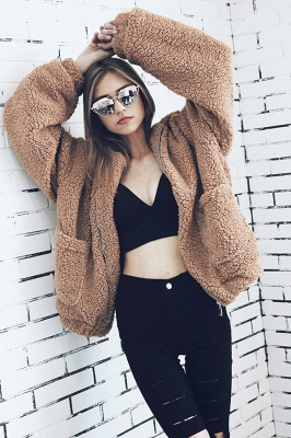 Going out Basic Regular Faux Fur Coat| Solid Colored Stand Long Sleeve Faux Fur White / Brown / Black_23