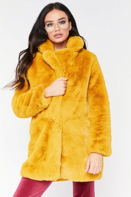Daily Regular Stand Long Faux Fur Coat  Solid Colored Long Sleeve Faux Fur Yellow / Blue / Fuchsia_10