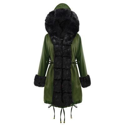 Army Green Faux Fur-trimmed long-length Coat | Classic Solid Color Winter/Fall Jacket_16