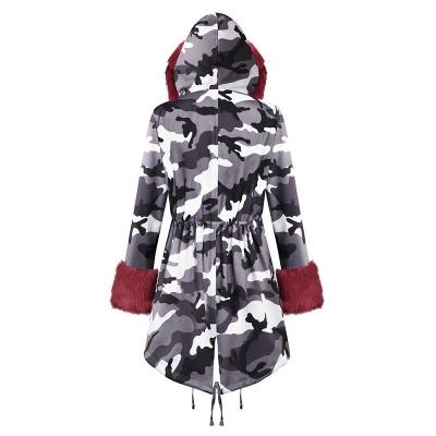 Chaqueta Fashionista de piel sintética con capucha y camuflaje para mujer | Abrigo largo medio en cuello de chal burdeos / negro / gris_31