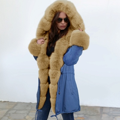 Midnight Blue Hooded Long-length Faux Fur Coat | Women's Solid Color Winter/Fall Jacket_16