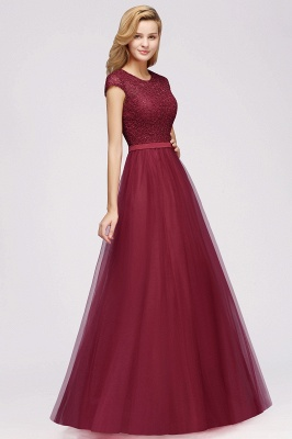 Elegant Lace Top Cap Sleeves Long Tulle Bridesmaid Dresses_8