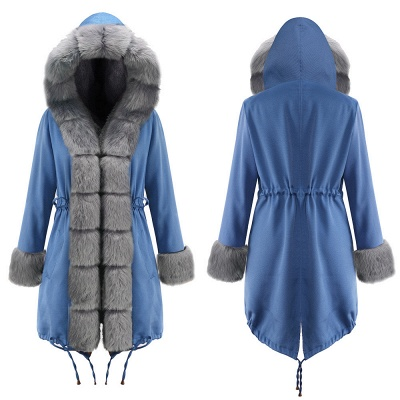 Midnight Blue Hooded Long-length Faux Fur Coat | Women's Solid Color Winter/Fall Jacket_20