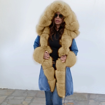 Midnight Blue Hooded Long-length Faux Fur Coat | Women's Solid Color Winter/Fall Jacket_2