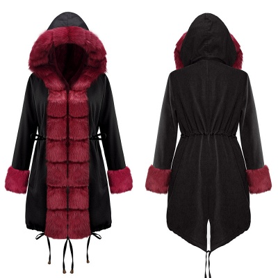 Black Faux Fur-trimmed Long-length Overcoat | Warm Hooded Fur Coat in Burgundy/Black/Gray Shawl Collar_16