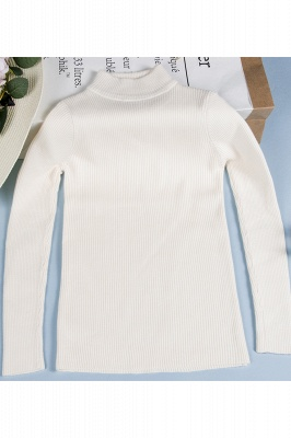 Fitted Top in a fine-knit viscose blend   Long Sleeves Round Neckline Sweater_6