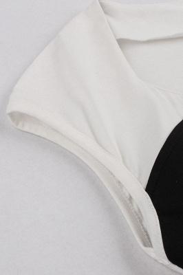 Vestido blanco y negro con cuello redondo y manga esencial de cuello redondo_5