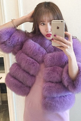 Women's Daily/Party Long Faux Fur Coat | Solid White/Pink/Ruby/Burgundy Colored Round Neck Long Sleeve Faux Fur Overcoat_46