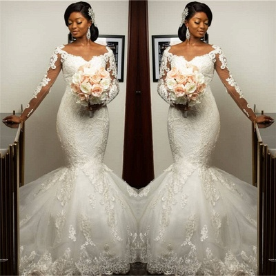 Mermaid Lace Appliques Wedding Dresses with Sleeves | Sexy Cheap Plus Size Wedding Gowns Onine_2