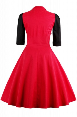 Half Sleeve A Line Vintage Dress with Self-tie Bow | Clearance sale and free shipping_3